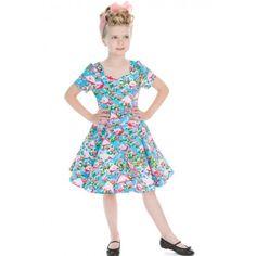 1d156438cce6d Robe pin up enfant flamant rose Robe pin up pour enfant avec un motif  floral sur