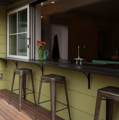 Sink counter with sliding window opens to exterior eating bar Lead Pencil, Sliding Windows, Counter, Sink, Exterior, Bar, Kitchen, Furniture, Home Decor