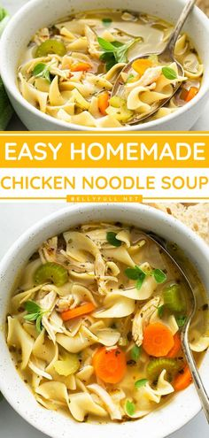 In a pinch for a dinner idea for tonight? Go grab your pantry staples! Made from scratch with the perfect blend of simple ingredients, this homemade chicken noodle soup recipe makes a healthy dinner… Easy Delicious Recipes, Easy Chicken Recipes, Soup Recipes, Healthy Recipes, Pasta Recipes, Homemade Egg Noodles, Chicken Noodle Soup, Warm Hug, Ethnic Recipes