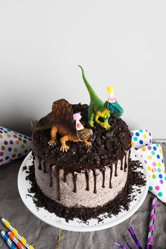 Chocolate Oreo Dinosaur Cake — Flourishing Foodie The Effective Pictures We Offer You About Dinosaur design A quality picture can tell you many things. You can find the most beautiful pi Dinosaur Cakes For Boys, Dinosaur Cake Toppers, Dino Cake, Dinosaur Birthday Cakes, Dinosaur Cake Easy, 3rd Birthday, Birthday Cakes For Boys, 3 Year Old Birthday Cake, Dinosaur Cupcakes