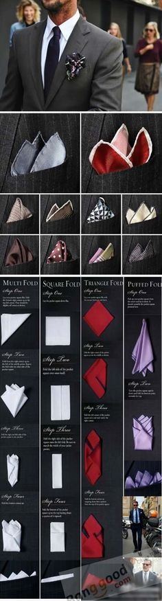 folding pocket squares - it's a matter of style, culture and selfesteem. Check out men in different positions and from different origin. I bet you can establish differences between characters by the way they fold their pocket square. I love to wear it not only for dress code reasons - women like style! #mensfashion, #style, #lifestyle