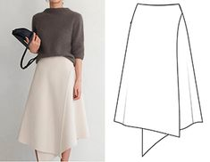 Ready-made pattern of a wrap bell skirt - pattern fashion - Sewing Clothes, Diy Clothes, Moda Peru, Costura Fashion, Skirt Patterns Sewing, Pattern Skirt, Vintage Rock, Inspiration Mode, Fashion Sewing