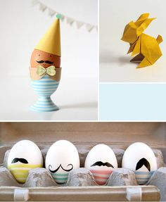 That egg with the party hat and mustache is too cute!    Oh the lovely things: Easter DIY Roundup #atepinningparty
