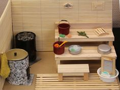 Sauna Modern Dollhouse, Brio, Barbie House, Miniature Houses, Workout Rooms, Miniture Things, Small World, House Rooms, Dollhouse Miniatures