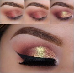 For the ultimate sunset eye shadow, blend pinks and oranges together to create eye-catching details... and don't forget your heavy liner! This color and style compliments all skin tones! | Mesonista