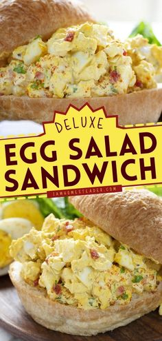 There's boring egg salad then there's a Deluxe Egg Salad Sandwich! This delicious lunch idea is topped with bacon and loaded with flavor. It's the best sandwich idea for busy days!