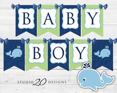 Instant Download Whale Baby Shower Banner Navy by Studio20Designs