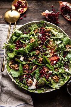 All the Healthy Recipes You Need + Healthy January 2020 Winter Pomegranate Salad with Maple Candied Walnuts and Balsamic Fig Vinaigrette Dinner Menu, Dinner Recipes, Brunch Menu, Holiday Recipes, Candied Walnuts, Roasted Walnuts, Candied Walnut Salad, Pecans, Pomegranate Salad