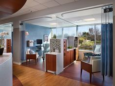 Central DuPage Hospital in Winfield, Ill, west of Chicago, commissioned RTKL to design a freestanding cancer and diagnostic imaging center for a cancer care Medical Design, Healthcare Design, Commercial Design, Commercial Interiors, Healthcare Architecture, Hospital Design, Clinic Design, Elderly Home, Luxury Vinyl Tile