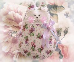 Cat  Doll 6 inch Free Standing Kitty Lavender by CharlotteStyle, $15.00