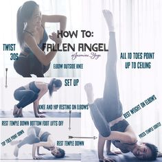 #jasmineYogaTutorial : #FallenAngel Almost like side crow but way prettier.  I got this as an accident when I was learning how to side crow. You see I used to cheat by resting my hip on my free elbow and tip forward to get my side crow. And thats exactly what you need for this pose. Let the entire weight rest on your elbows. Make sure your arms are chaturanga and your elbows/hands act as the fulcrum of this pose. Press your temple down and you are free to move your legs! Tips 1) Make…