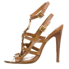 """Tory Burch Tan Strappy Sandals Tan leather Tory Burch sandals with gold-tone hardware, metallic accents at uppers, stacked wooden heels and buckle closures at ankle straps.  Condition: Very Good. Moderate wear at soles; light wear at insoles.  Measurements: Heels 4.5"""" I ONLY TRADE FOR CASH!  Tory Burch Shoes Heels"""
