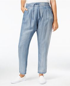 Standards and Practices Trendy Plus Size Pull-On Straight-Leg Jeans