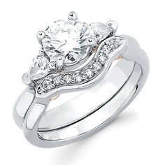 3 Stone Bridal: 3/8 Ctw. Diamond Semi Mount available for 1 Ct. Round Center Diamond in 14K Gold