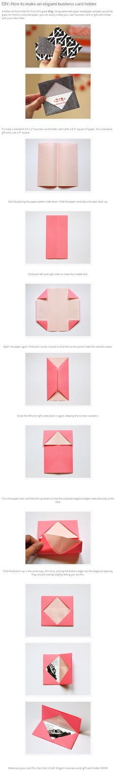 DIY origami business card holder