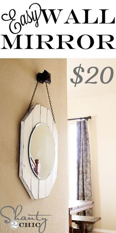 DIY Home Decorating.to customize your home, apartment, condo, or room with DIY accents. Do-it-yourself crafts that add fun touches to every room. Diy Wand, Mur Diy, Dollar Store Mirror, Deco Champetre, Diy Mirror, Mirror Crafts, Mirror Ideas, Beach Mirror, Mirror Hanging