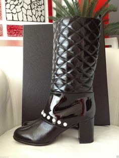 2014 CHANEL BLACK QUILTED PATENT LEATHER PULL-ON BOOTS WITH PEARLS — Miami Lux Boutique Chanel Boots, Pull On Boots, Black Quilt, Chanel Black, Patent Leather, Miami, Boutique, Pearls, Winter