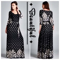 HOST PICK 8/30STUNNING BORDER PRINT MAXI This dress is a beautiful! 3/4 sleeve wrap maxi with a pretty floral border. Very flattering and comfortable fabric that flows. 96% polyester, 4% spandex. Made in USA. NWOT tla2 Dresses