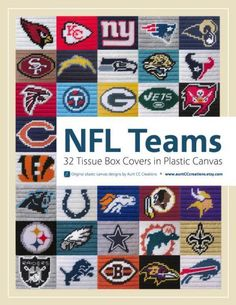 This listing is for a 105-page eBook of plastic canvas tissue box cover patterns for all 32 NFL teams. Each pattern is an original creation, and a finished tissue box cover will be 5.75 inches high, 4.75 inches wide.Here are the teams included in the eBook:• Arizona Cardinals • Miami Dolphins• Atlanta Falcons • Minnesota Vikings• Baltimore Ravens • New England Patriots• Buffalo Bills • New Orleans Saints• Carolina Panthers • New York Giants• Chicago Bears • New York Jets• Cincinnati Bengals ...