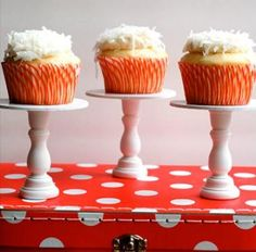 DIY Cupcake Stand - would be cute on serving table to vary heights in presentation for desserts (or anything else). Inexpensive.