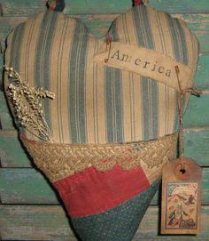 Heart Door Hanger  Primitive Heart Pocket  by PrairiePrimitives, $32.00