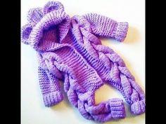 Детский комбинезон спицами «Мишка». Подробный мастер-класс. - YouTube Baby Knitting, Crochet Baby, Knit Crochet, Knit Baby Dress, Knit Patterns, Baby Boy, Creative, Clothes, Dresses