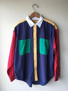 Womens LARGE Colorblock Buttondown Shirt Womens by SpaceMine Retro Outfits, Cool Outfits, Vintage Outfits, Casual Outfits, Moda Instagram, 90s Fashion, Girl Fashion, Fashion Outfits, Mode Ulzzang