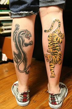Black panther and tiger tattoo on feet tattoos for Panther tiger tattoo