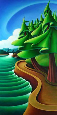 Summer Breeze by Dana Irving Emily Carr meets Dr. Landscape Illustration, Illustration Art, Black And White Abstract, Naive Art, Fantastic Art, Tree Art, Art Pictures, Art Lessons, Folk Art