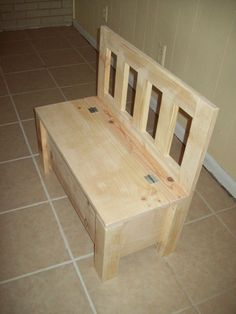 Kids bench Storage chair seat. that can go around the kitchen table. Can store kitchenware in seat..