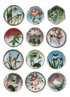 Gin Bari Enamel Buttons. Brightly coloured Japanese buttons from the late 19th century.