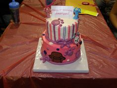 Pink Blue's Clues Cake: Blue, Magenta, Tickety Tock, and The Thinking Chair were made from Chocolate Candy Clay