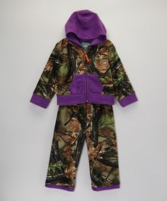 Love this Trail Crest Purple Camo Fleece Hoodie & Pants - Infant, Toddler & Girls by Trail Crest on #zulily! #zulilyfinds