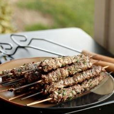 A Middle Eastern recipe for grilled beef, parsley and onion kebabs.