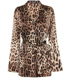 Trimmed with subtle black piping and cut with rounded lapels, Dolce & Gabbana's beige leopard-print top draws from traditional nightwear silhouettes. It's crafted in Italy from stretch-silk satin and fastens via a . Satin Top, Silk Top, Silk Satin, Dolce & Gabbana, Pierre Cardin, Dior, Leopard Jacket, Leopard Print Top, Silk Pajamas