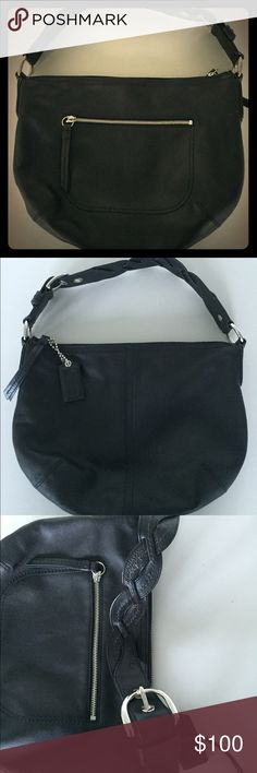 "Coach black leather hobo purse Guaranteed authentic! Beautiful condition! 13"" wide x 10.5"" high. Adjustable shoulder strap. Outside zip pocket and inside pockets. Coach Bags Hobos"