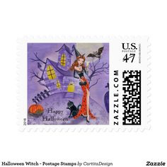 Halloween Witch - Postage Stamps