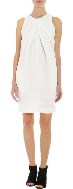 L'Agence Pleated Front Dress at Barneys.com Hard to see but CF cross front neck detail. Hard pleats on bottom side of crossover and soft pleats on top side that drape into fullness of hips.