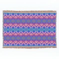 Colorful Abstract Throw Blanket -- Linda Baysinger Peck's cool, colorful pink, purple and blue abstract art design.