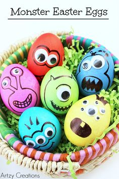 Change up your Easter egg decorating and make these awesome Monster Easter Eggs. My kids LOVED these!