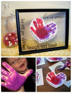 Aren't handprint crafts the BEST?! A Kids Preschool Valentines Craft - Handprint Hearts - B-InspiredMama | hand print | kids art | kids craft | Valentine | DIY | painted