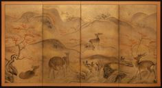 Japanese Screen: Deer in Mt. Yoshiino, Nara with Maples, on Gold Dust, c.1880 naga Antiques
