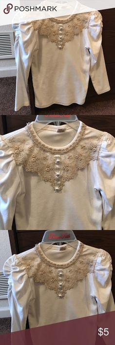 Girls Long Sleeve Shirt🎉🎉 Long sleeve shirt with embroidery; this was bought in Korea so the size is 13 which is an American girls size 7/8 Shirts & Tops Tees - Long Sleeve