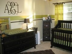 I pinned this nursery before I even knew I was having a girl and the monogram is Addison's monogram:)