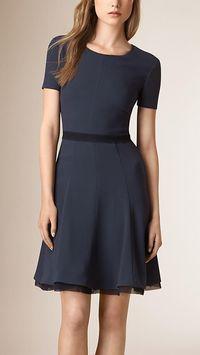 Dark pewter blue Flare Skirt Silk Detail Dress - simple and blue