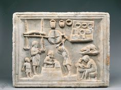 *POMPEII, ITALY ~ Roman civilization, 1st century A.D. – Pompei – Marble relief – Sign of the coppersmith's shop Naples, Museo Archeologico Nazionale (Archaeological Museum)