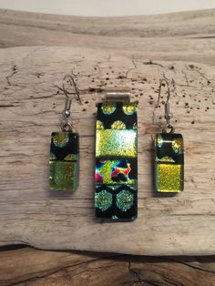 Dichroic glass pendant and earring set dichroic glass