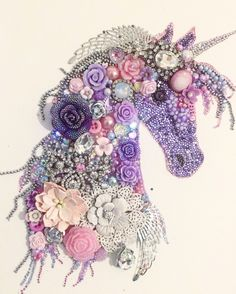 Lilac & pink Unicorn head button art / mixed media art £65.00 plus postage to order please see my Facebook page