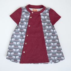 DOMINO DRESS - grey marching elephants