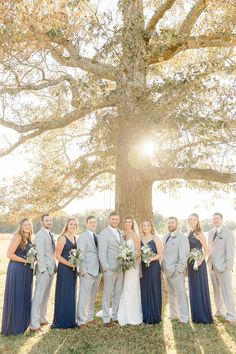 Long navy blue bridesmaid dresses paired with navy groomsman attire makes for the perfect fall wedding attire! Fall Wedding Attire, Navy Fall Weddings, Wedding Day, Wedding Dresses, Groomsmen Attire Navy, Glitz Bridal, Navy Blue Bridesmaid Dresses, Engagement Session, Wedding Venues
